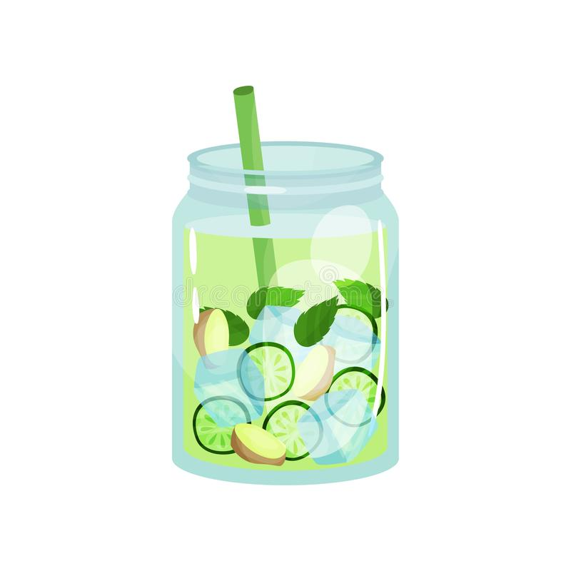 Organic detox drink with ginger, cucumber and mint leaves. Glass jar of natural cocktail with ice cubes and straw. Tasty stock illustration
