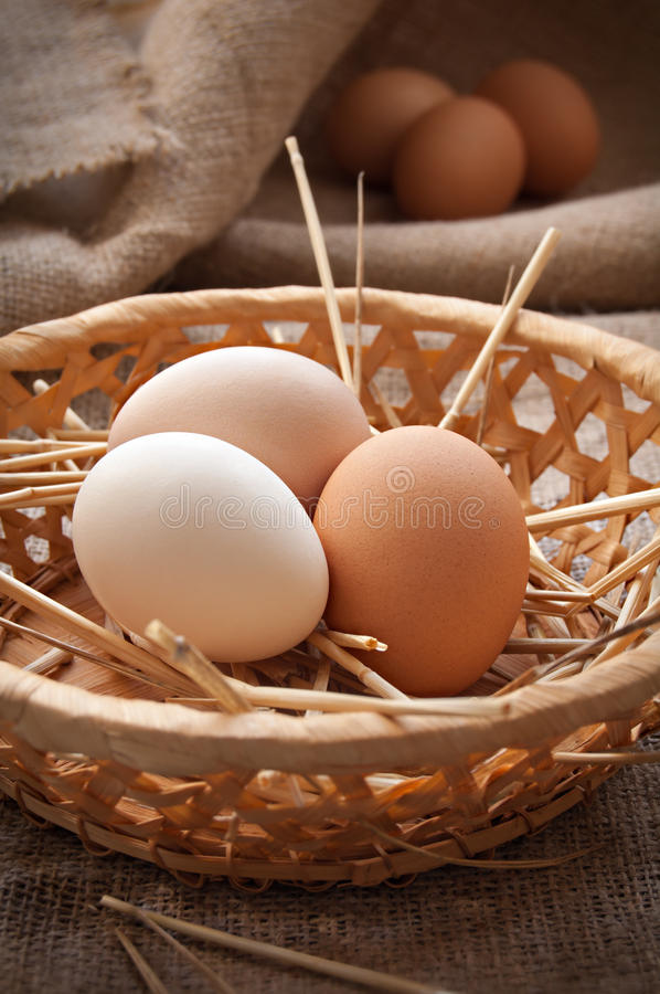 Organic eggs. In the basket on the cloth royalty free stock photos