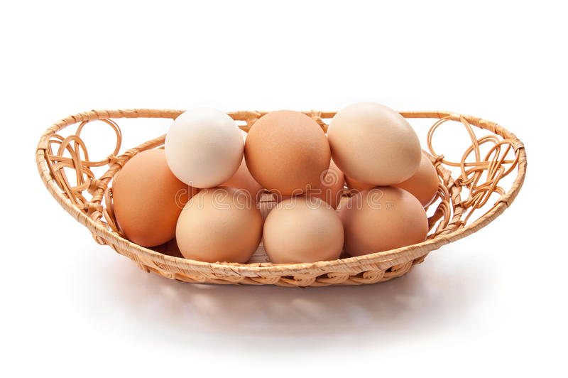 Organic eggs. In the basket on the white background stock image