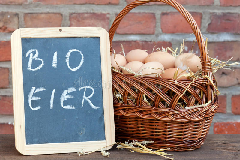 Organic eggs. In a basket royalty free stock photography