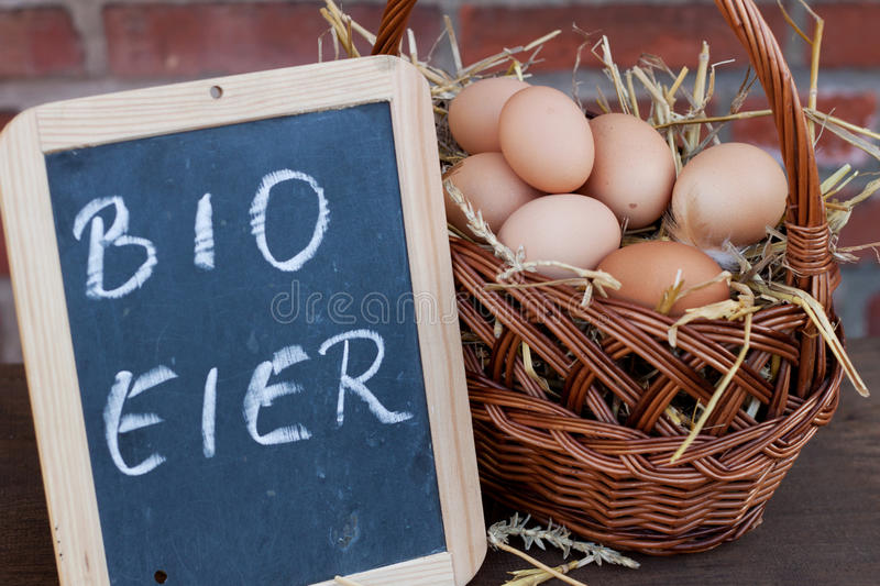Organic eggs. In a basket stock images