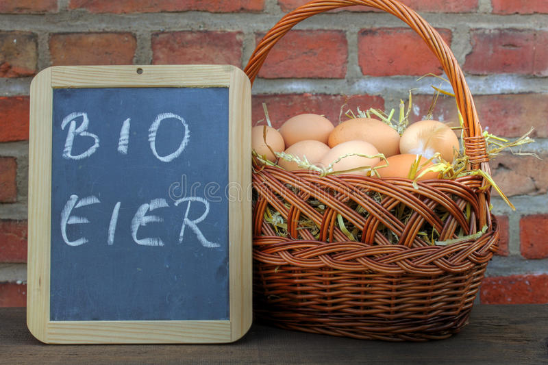 Organic eggs. In a basket stock photo