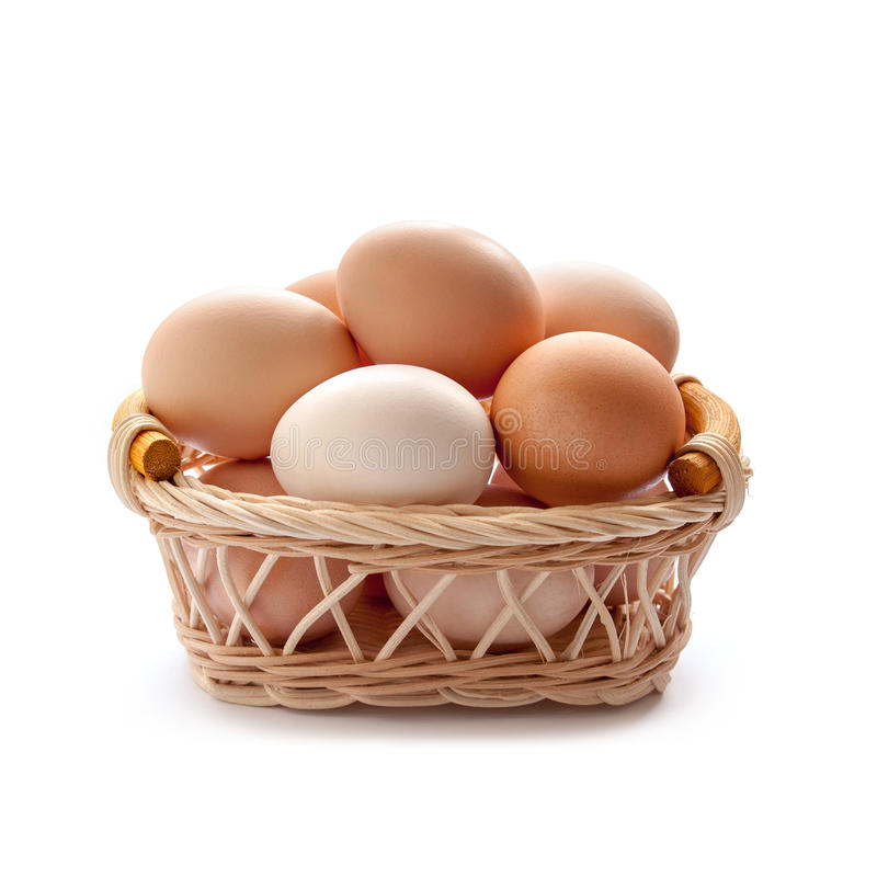 Organic eggs. In the basket on the white background royalty free stock image