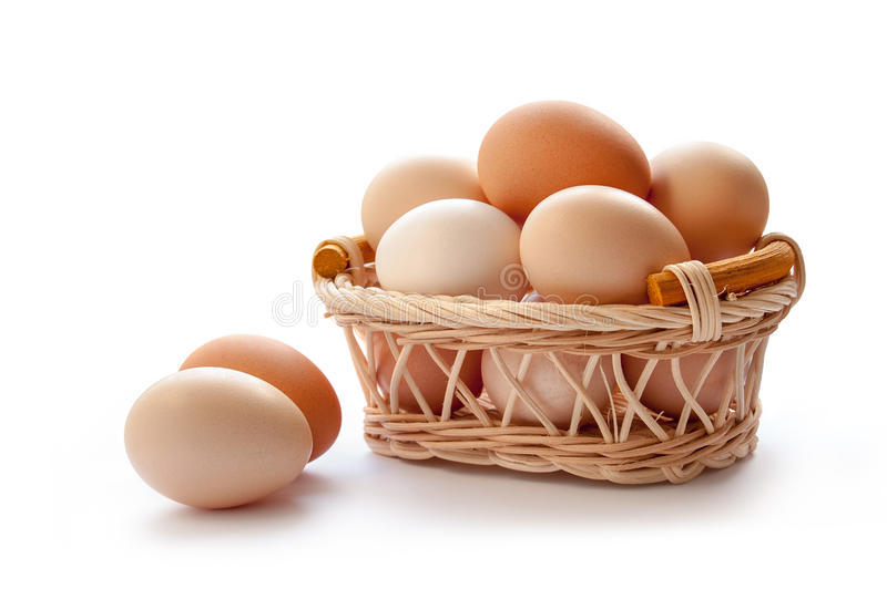 Organic eggs. In the basket on the white background royalty free stock images