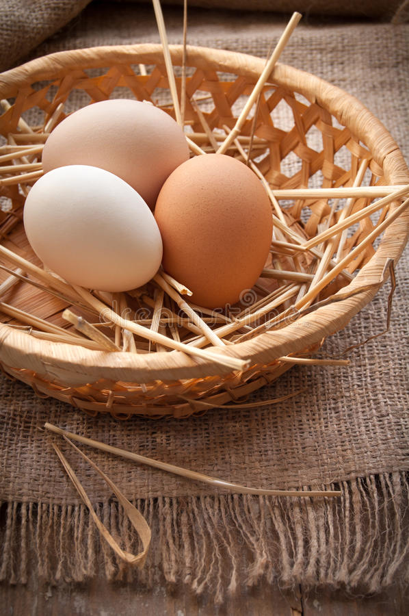 Organic eggs. On the cloth stock images