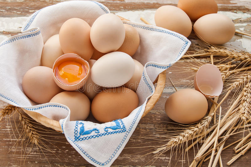 Organic eggs for Easter. Organic eggs in the basket royalty free stock photo
