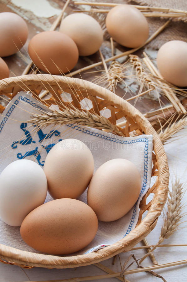 Organic eggs for Easter. Organic eggs in the basket stock photography