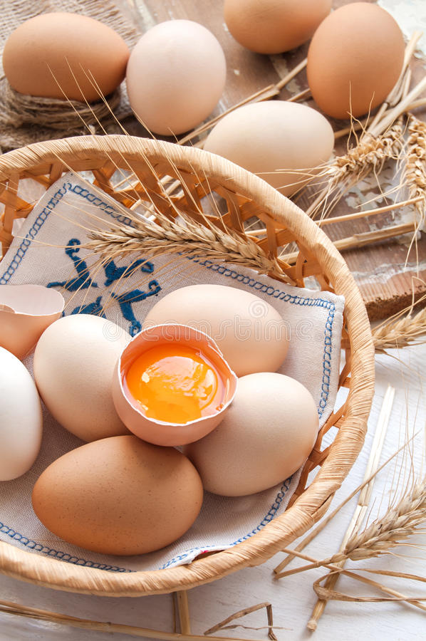 Organic eggs for Easter. Organic eggs in the basket royalty free stock image