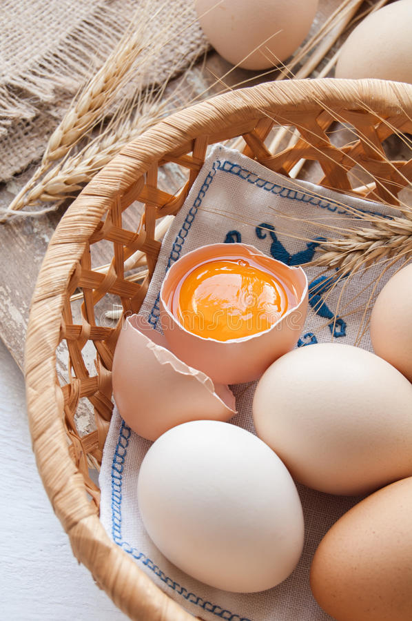 Organic eggs for Easter. Organic eggs in the basket stock images