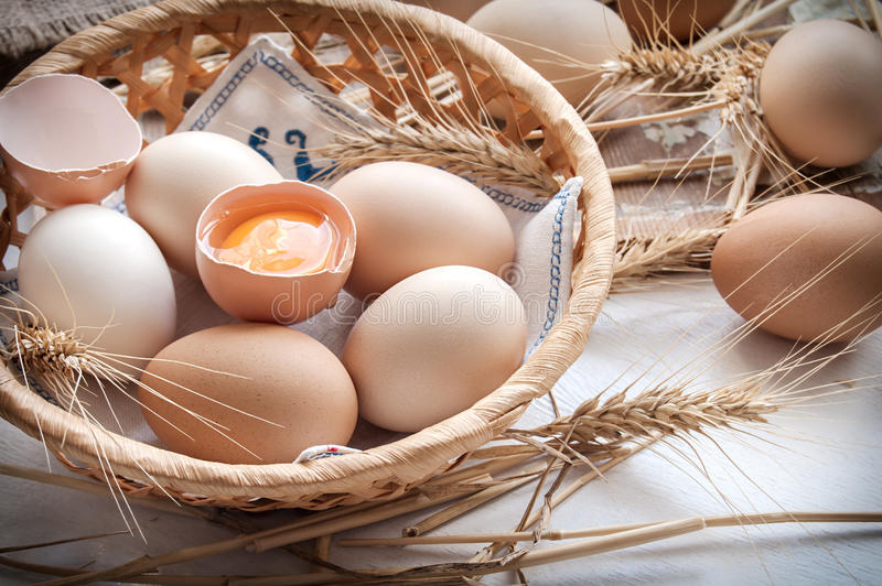 Organic eggs for Easter. Organic eggs in the basket stock photos