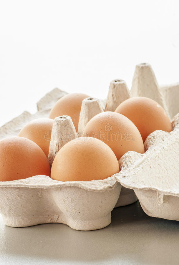 Organic eggs from pasture-raised chickens. Close up royalty free stock image
