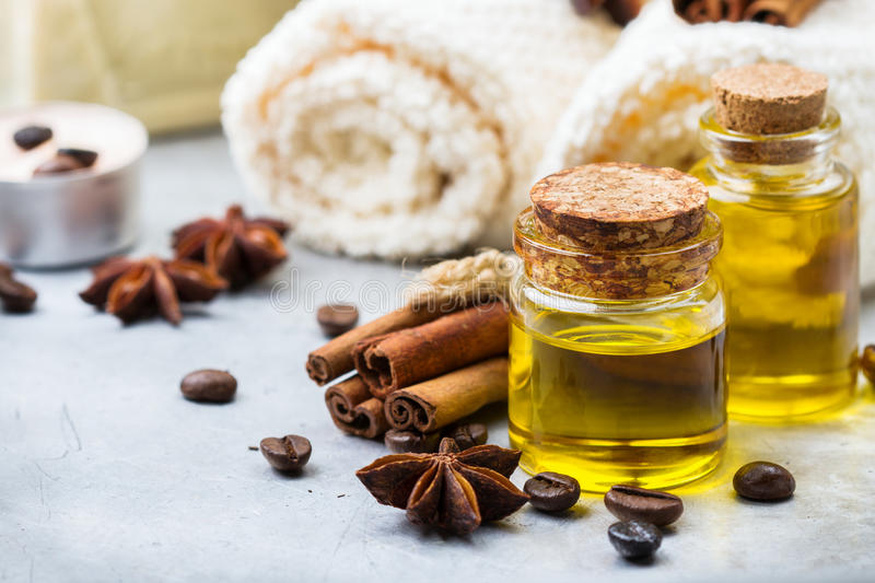 Organic essential oil with coffee spices cinnamon, spa concept stock image