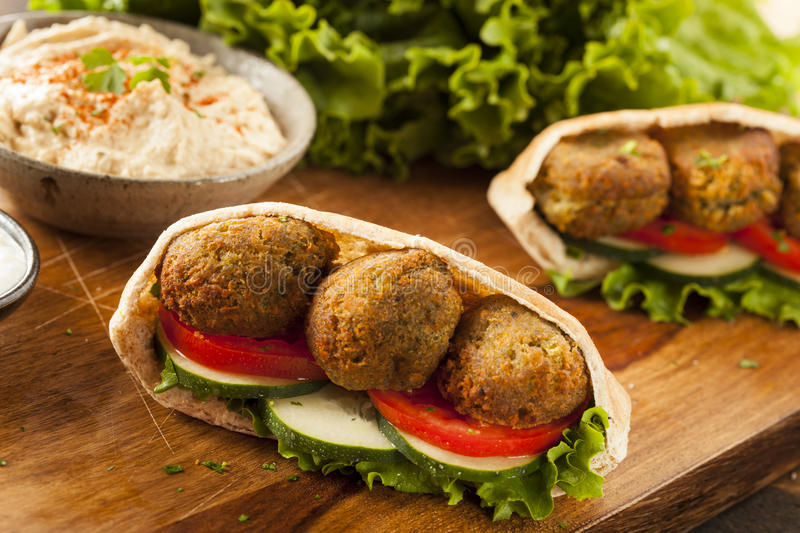 Organic Falafel in a Pita Pocket stock photos