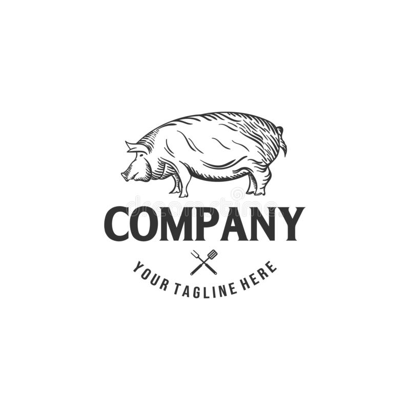 Pork logo designs for butchery companies royalty free illustration