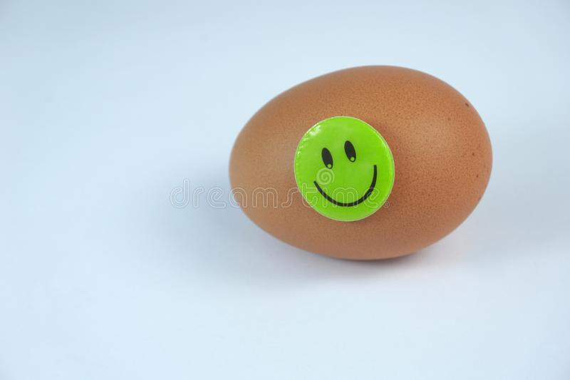 Fresh brown egg with green smiley happy face isolated on white background. Organic farm Fresh healthy brown egg with smiley happy face isolated on white royalty free stock photography