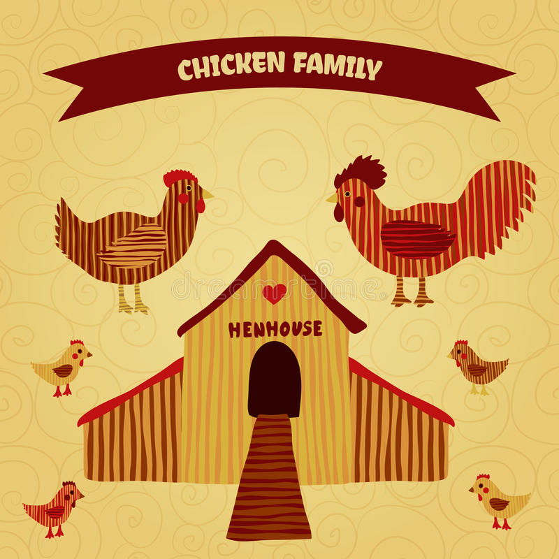 Organic farm funny cartoon label with family chicken: cock, hen with chickens, hen house. vector illustration