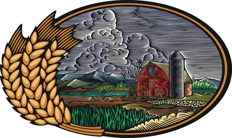 Download Organic Farm Vector Illustration In Woodcut Style Stock Vector - Illustration of picture, nature: 52058370