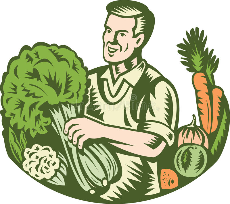 Organic Farmer Green Grocer With Vegetables Retro stock illustration