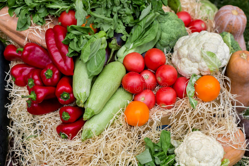 Organic farmers food market place, vegetables stock images