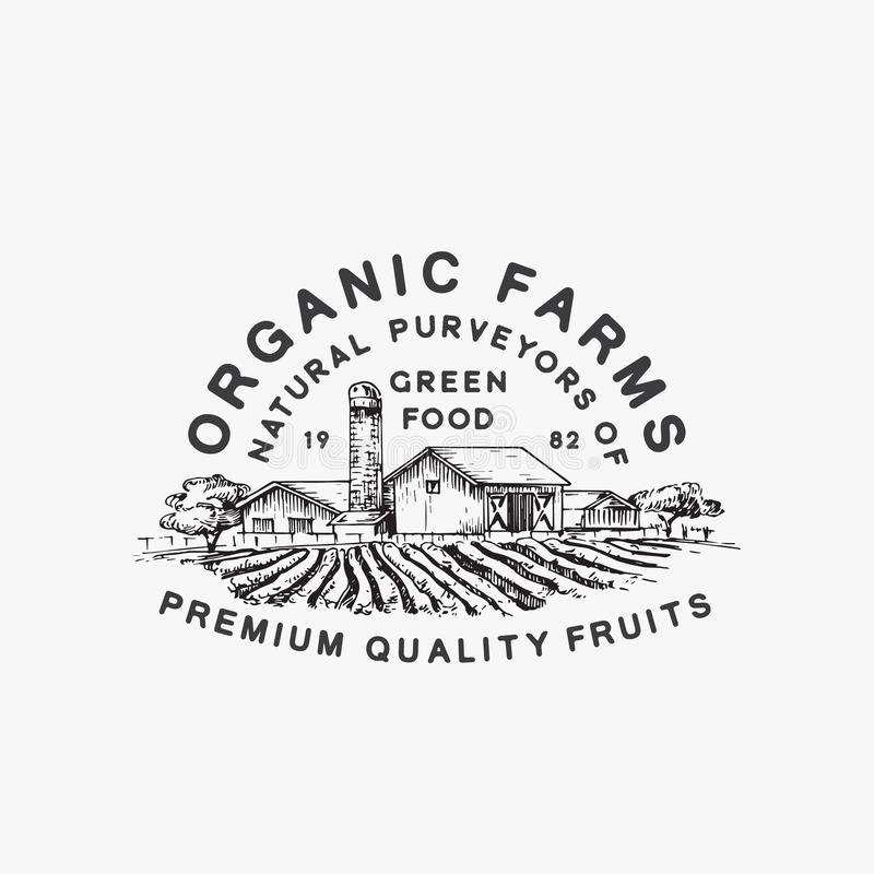 Organic Farms Green Food. Abstract Vector Sign, Symbol or Logo Template. Farm Landscape Drawing Sketch with Retro stock illustration