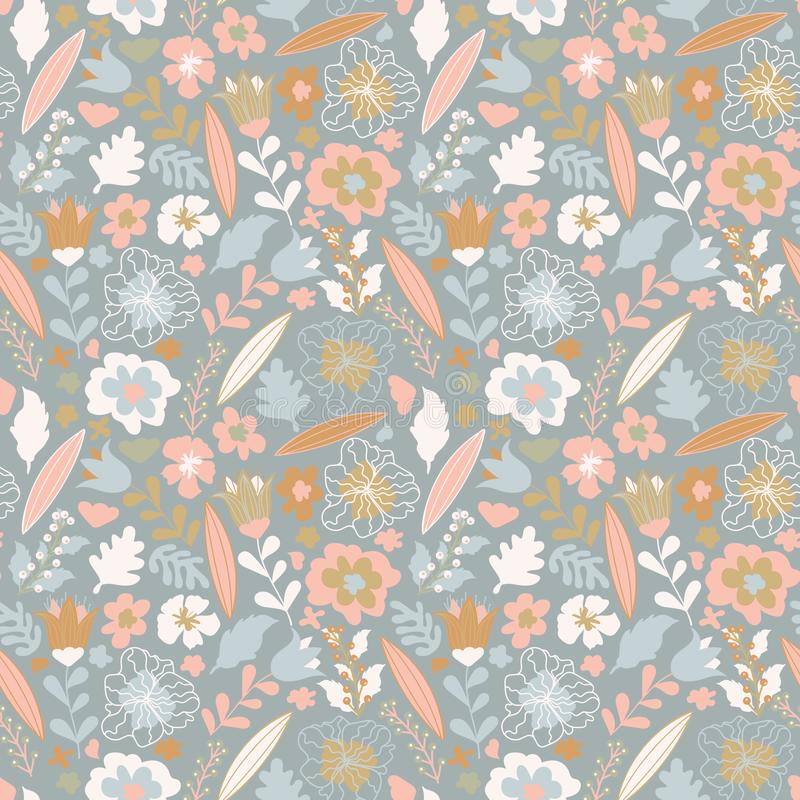 Organic floral seamless abstract background, botanical motif, pastel colors stock illustration