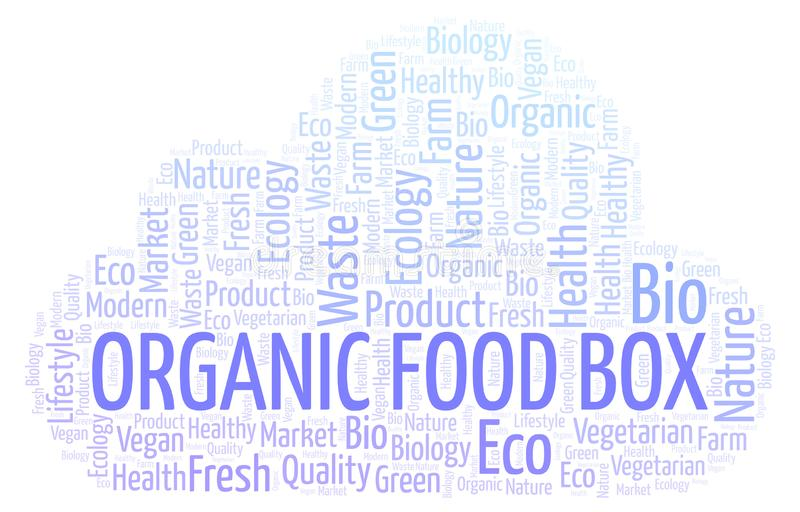 Organic Food Box word cloud. Organic Food Box word cloud, wordcloud made with text only stock illustration