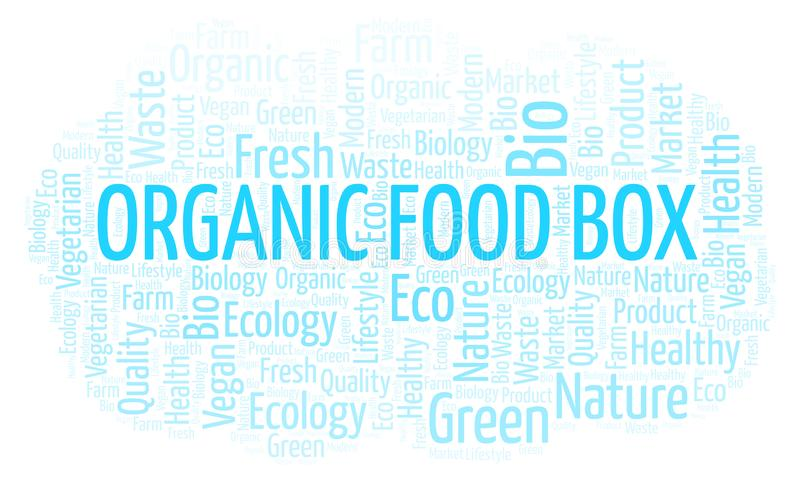 Organic Food Box word cloud. Organic Food Box word cloud, wordcloud made with text only vector illustration