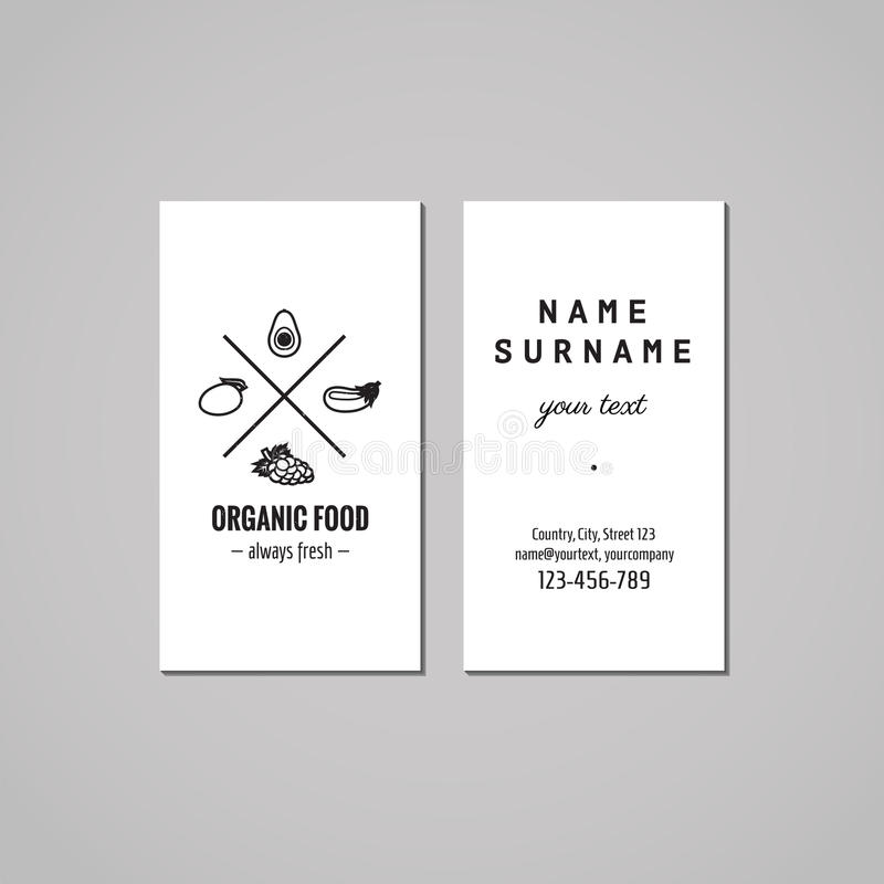 Organic food business card design concept. Food logo with avocado, mango, eggplant and grape. Vintage, hipster and retro style. royalty free illustration