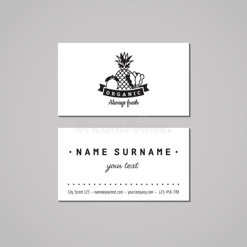 Organic food business card design concept. Food logo with lemon, pineapple and spinach. Vintage, hipster and retro style. royalty free illustration