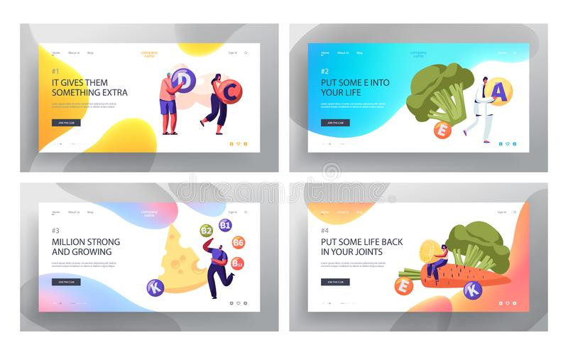 Organic Food Choice Website Landing Page Set, People Healthy Lifestyle, Vitamins in Products as Source of Energy and Health vector illustration