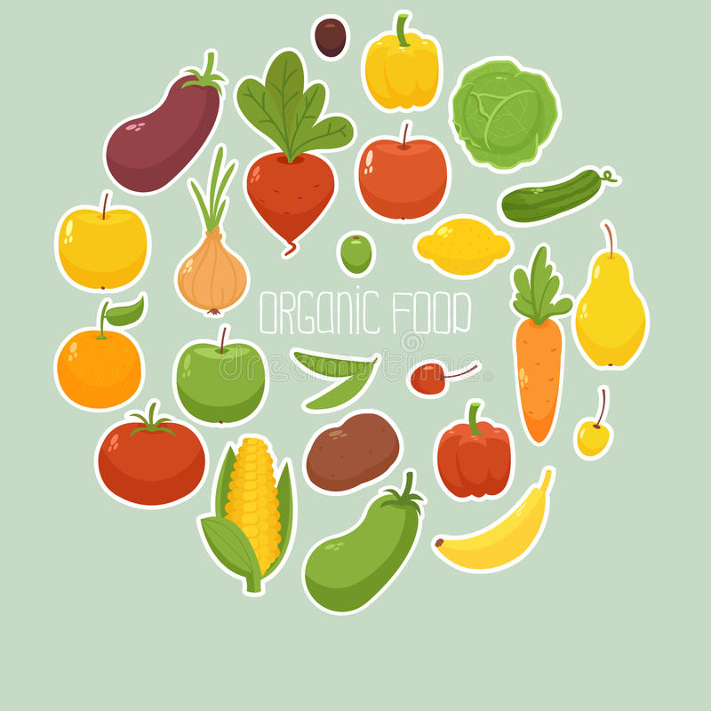 Organic Food. Circle shaped banner with vegetables stock illustration