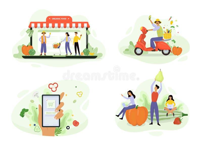 Organic food delivery concept banner set. Order fresh green food royalty free illustration