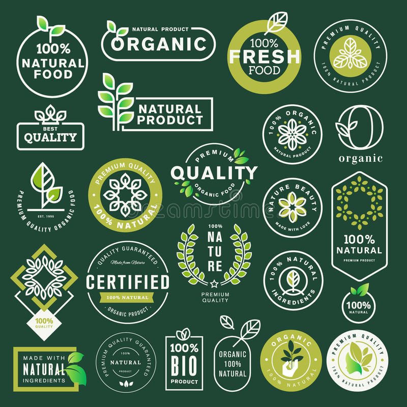 Organic food and drink icons and elements set vector illustration