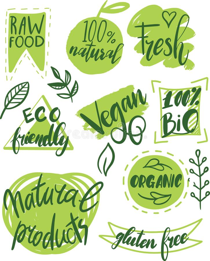 Vegan Elements Set Of Green Labels Logos And Signs In Retro Style: Organic Food, Farm Fresh And Natural Product Labels And