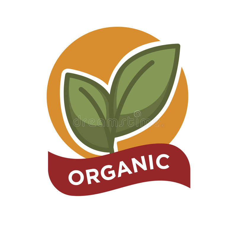 Organic food fresh from farm label vector illustration. Green leaves royalty free illustration