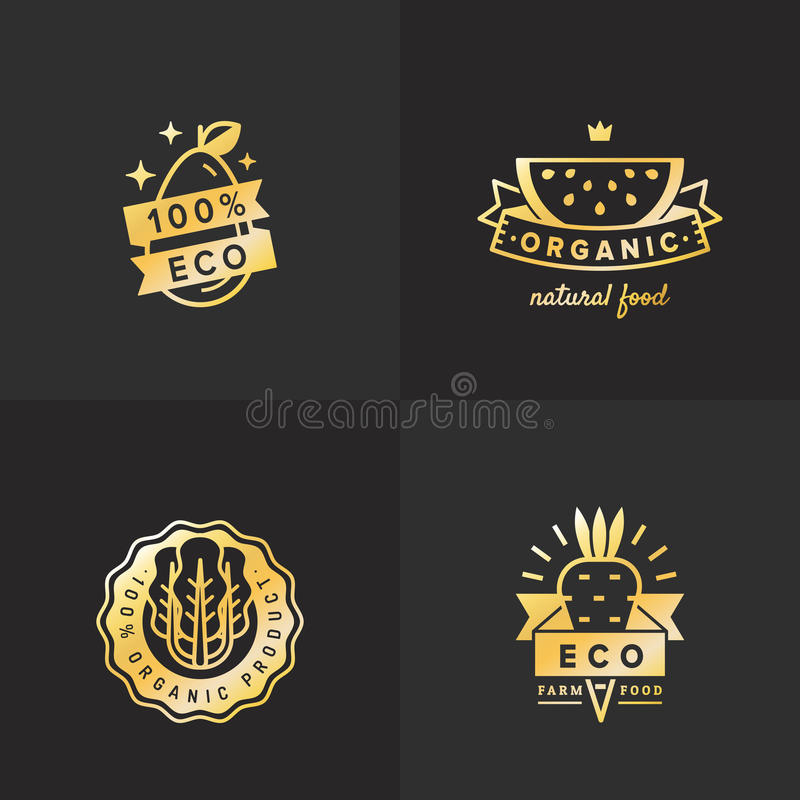 Organic food gold logo vintage vector set. Part four. vector illustration
