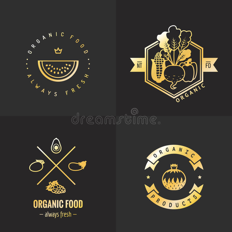 Organic food gold logo vintage vector set. Part one. vector illustration