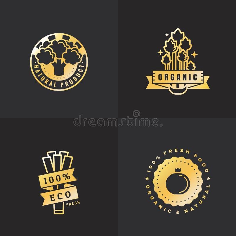 Organic food gold logo vintage vector set. Part six. vector illustration