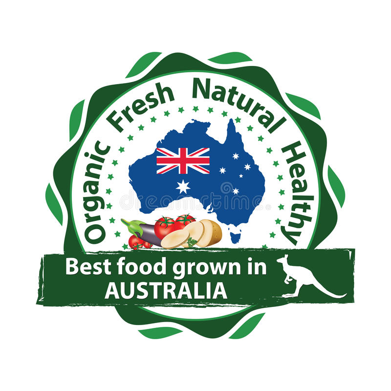 Organic food grown in Australia. Buy Fresh, buy Green - printable stamp with the Australian map stock illustration