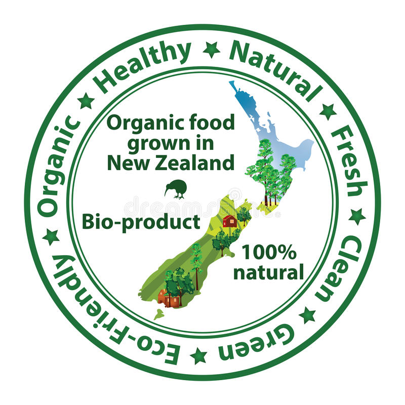 Organic food grown in New Zealand. Bio product, 100% Natural - food stamp with the map of New Zealand. Print colors used vector illustration