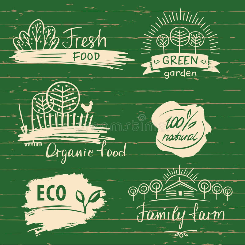 Free Organic Food Label And Logos Set. Farm Fresh Label And Logo Royalty Free Stock Photography - 71925527