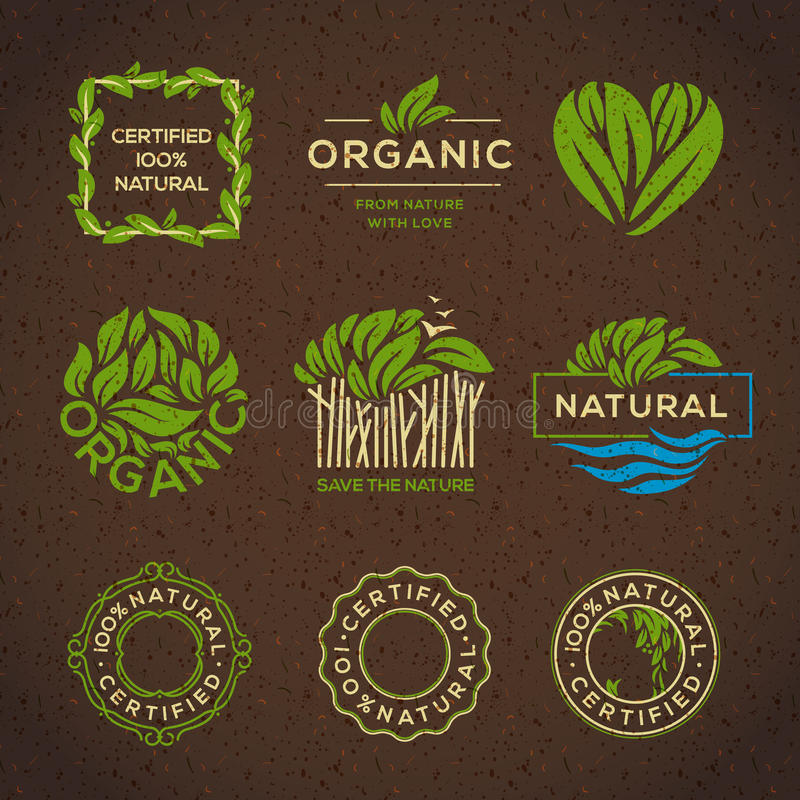 Organic food labels and elements royalty free illustration