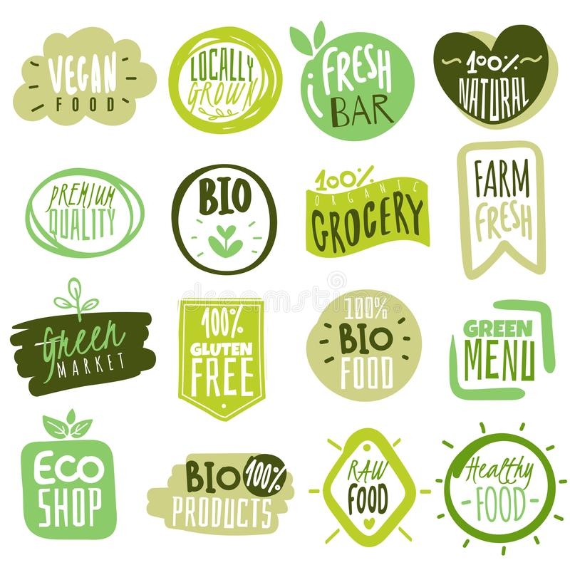 Organic food labels. Natural healthy meal fresh diet products logo stickers. Ecology farm eco food. Vector green premium vector illustration