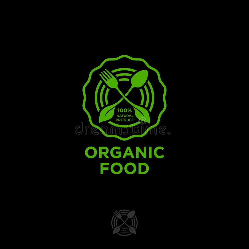 Free Organic Food Logo. Green Food Emblem. Green Leaves, Fork And Spoon In A Circle. Royalty Free Stock Image - 138183866