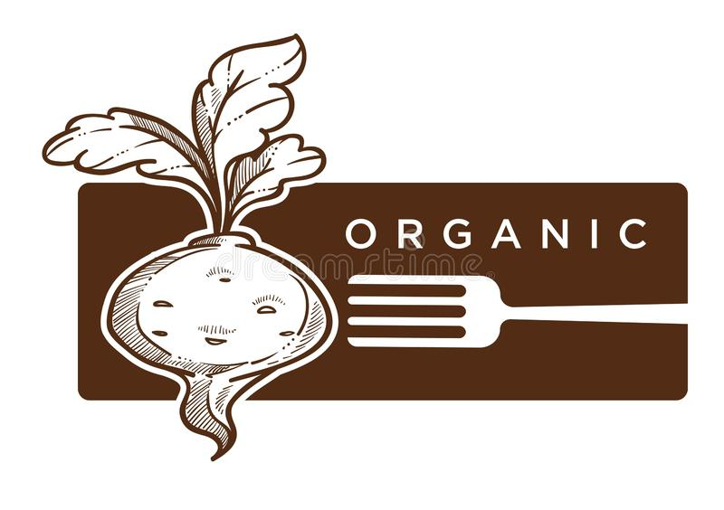 Organic food reddish with leaves and fork logo. Vector logotype of healthy meal harvesting season beetroot natural ingredient antioxidant calories nutrition royalty free illustration