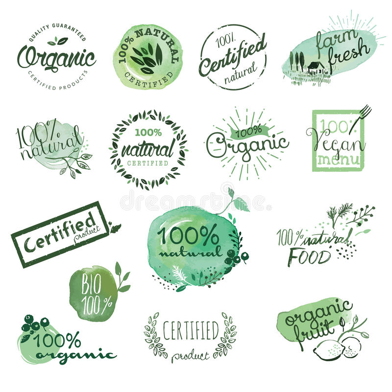 Organic food stickers and elements. stock illustration