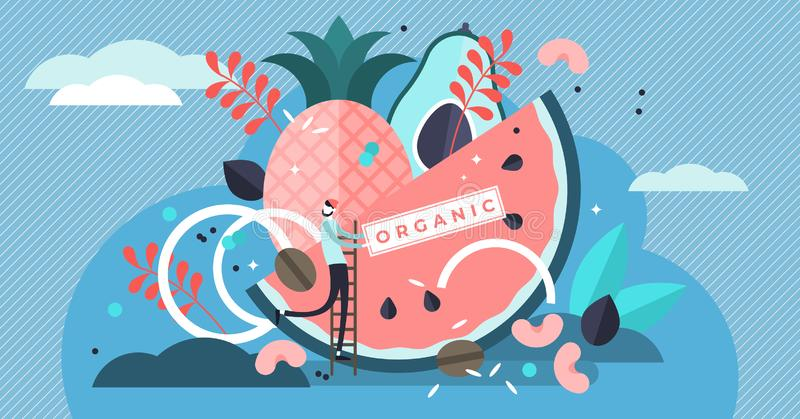 Organic food vector illustration. Tiny biological raw fruit persons concept stock illustration
