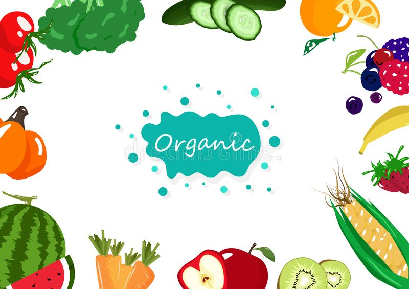 Organic food, vegetables and fruits, healthy food collection balance diet, market banner poster creative background vector. Illustration royalty free illustration