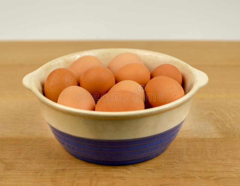Organic Free Range Eggs in Blue and White Bowl royalty free stock image