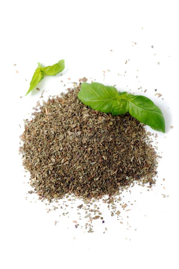 Organic Fresh Basil And Ground Basil stock images